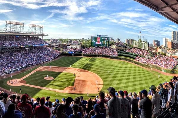 View of Wrigley Field from upper deck in Chicago