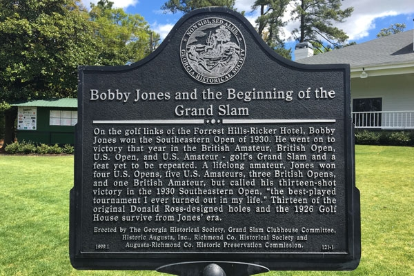 Bobby Jones historic plaque at Forrest Hills Golf Course in Augusta, Georgia.